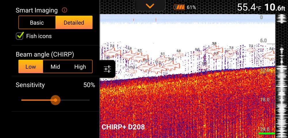 Deeper CHIRP+ screen